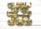 Incêndio amarelo - quartzo côncavo místico do corte para a jóia