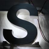 Éclairage inversé extérieur Signature en lettrage en acier inoxydable brossé