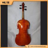 Violon flambé impeccable solide professionnel d'érable avec la caisse oblongue de violon