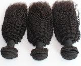 8A Remyのねじれたカール自然なカラーブラジルの人間の毛髪のよこ糸