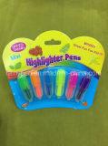 Mini crayon lecteur de barre de mise en valeur de 4 couleurs, crayon lecteur fluorescent avec l'emballage de carte
