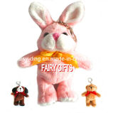 Plush Keychain Rabbit with Ribbon