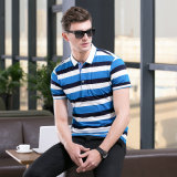 Nouveau design de marque Mecerized Cotton Men à rayures à manches courtes Polo Slim Fit Tee Tops Men Casual Clothing