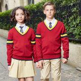 Изготовленный на заказ длинний свитер красного цвета школы втулки связанный