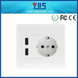 Enchufe de la pared del USB del doble interruptor eléctrico del zócalo de la UE Tipo 5V 2.1A