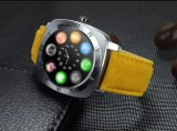 Intelligente Uhr X3 mit androidem Screen-Cer des SIM 3G Bluetooth GPS WiFi Puls-Edelstahl-Silikon-Band-1.3inch TFT
