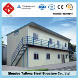 Casa prefabricada del panel de emparedado del marco de acero con la azotea plana