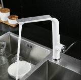 Смеситель раковины кухни шарнирного соединения белый для санитарных изделий