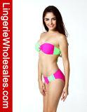 La couleur en deux pièces de bikini de dames succulentes a bloqué les vêtements de bain sans bretelles