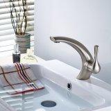 Faucet de bronze escovado niquelar do banheiro do único furo de Flg