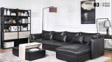 L Form-Leder-Sofa in der Feder