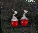 Boucle d'oreille Entonnoir-Shaped de bijou de mode de perle d'arrivée neuve plaquée avec du rhodium