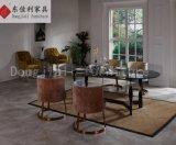 Morden Mesa de jantar de aço inoxidável com vidro temperado preto