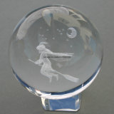 Escultura em laser 3D Crystal Clear Glass Ball for Souvenirs