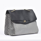 2016 Black and White Stripe PU Handle Bag