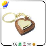 Corrente chave de couro do plutônio do Keyring feito sob encomenda da forma do coração