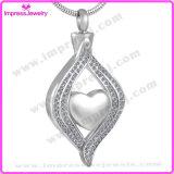 Le coeur en collier pendant d'incinération d'acier inoxydable de yeux incinère le bijou de mémorial de souvenir