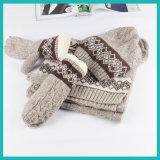 Cachecol de malha Ashion com luvas de chapéu e luva de inverno, Conjunto de luvas para cachecol de chapéu