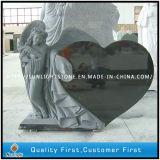 Headstone nero della pietra del granito del nero del cuore di angelo del granito per la pietra tombale/monumento/lapide