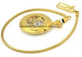 Logotipo personalizado reloj de bolsillo de oro del análogo de cuarzo de 50 mm Cadena