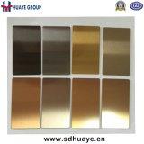 De bruine Gouden Hairline/Spiegel /Sand die van de Borstel van het Blad van het Roestvrij staal van het Plateren van het Titanium Gebeëindigde Trilling vernietigen