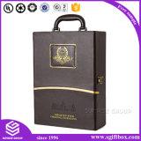 Rectángulo de cuero de empaquetado de encargo de lujo del vino de la PU