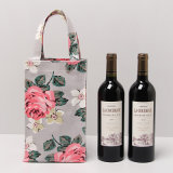 Impermeável PVC Canvas Floral Patterns Wine Shopping Bag (A078-3)