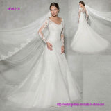 Langes hoch entwickeltes Hülsen-Hochzeits-Kleid mit Sequin-Spitze fügt die vollkommene Note des Scheins hinzu