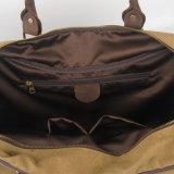 Il sacchetto di cuoio della cinghia della mano della pelle bovina ha lavato il sacchetto di corsa del Duffle di sport della tela di canapa (RS-6827A)