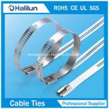 Atadura de cables revestida del solo de la lengüeta de la escala del acero inoxidable poliester del bloqueo