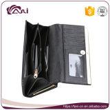 Carpeta negra de la tarjeta de las señoras, carpeta de cuero de la tarjeta de la PU del marco del metal para las mujeres