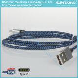 USB trenzado de nylon para pulsar el cable del cargador de C