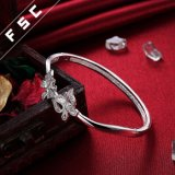 Braccialetto grazioso del braccialetto della farfalla del doppio dei monili di modo fatto con la CZ