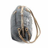 여자 호화로운 프레임 모조 다이아몬드 프랑스 유행 데님 어깨에 매는 가방 (MBNO040041)