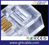 Connecteurs Rj11 de tête en cristal plaqué or