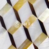 Frischwassershell und gelbes Lippenmopp-Shell und Feder-Shell-Raute-Mosaik-Fliese