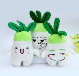 E bianca giocattolo di verdure farcito peluche verde