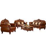 Sofá de couro com o gabinete da tabela para a mobília da sala de visitas