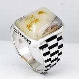 Projetos novos 925 anéis dos homens da prata esterlina com pedra natural