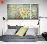 Floral Wall Picture Gold Tones Set de peinture à l'huile Gardenia