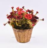 Crisantemo mezclado del color del ramo artificial en la cesta de la rota para la decoración