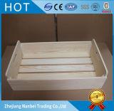 Embalaje natural de encargo de madera de pino con la maneta