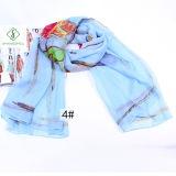 Повелительница Способ Шифоновый Шелк Шарф с Multicolor шалью напечатанной Flowedr