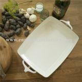 Поднос еды подноса белого квадрата эмали
