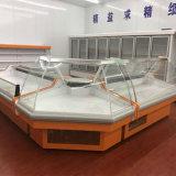 Sanye curvou o talho de vidro o refrigerador Refrigerated usado dos casos de indicador do supermercado fino