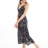 Robe de glissade de plage de Blackless estampée par fleur Low-Cut de V-Collet de femmes de mode