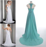A - linha/vestido baile de finalistas da princesa Cabeçada Garganta Assoalho-Comprimento Chiffon com trem de Flowy