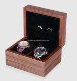 Caixa de empacotamento de madeira da caixa de presente do relógio da noz luxuosa feita sob encomenda
