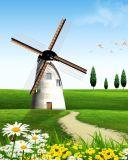La peinture à l'huile estampée par jet d'encre de moulins à vent pour la décoration à la maison