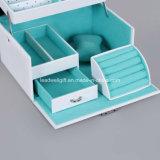 Случай хранения состава коробки ювелирных изделий белой кожи Lockable
